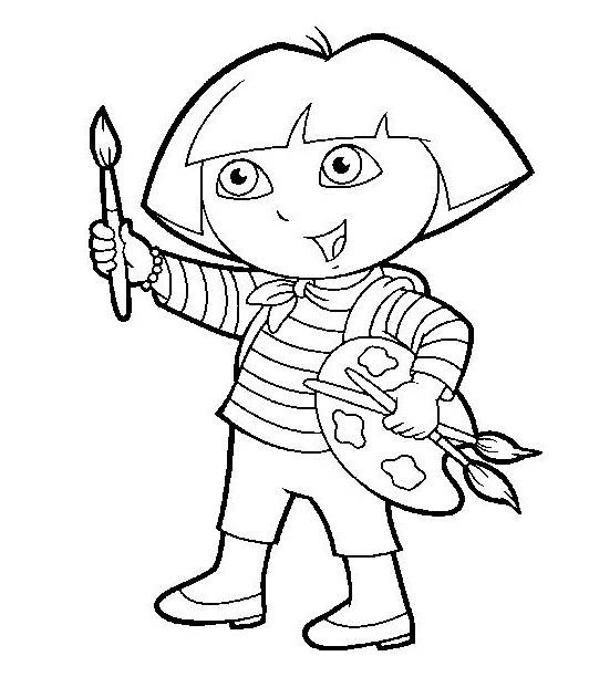 Coloriage Dora Tient Un Pinceau De Peinture Dessin Gratuit A Imprimer