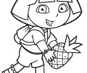 Coloriage Dora tient une ananas