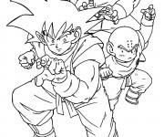 Coloriage Dragon Ball Z  Gohen et ses amis