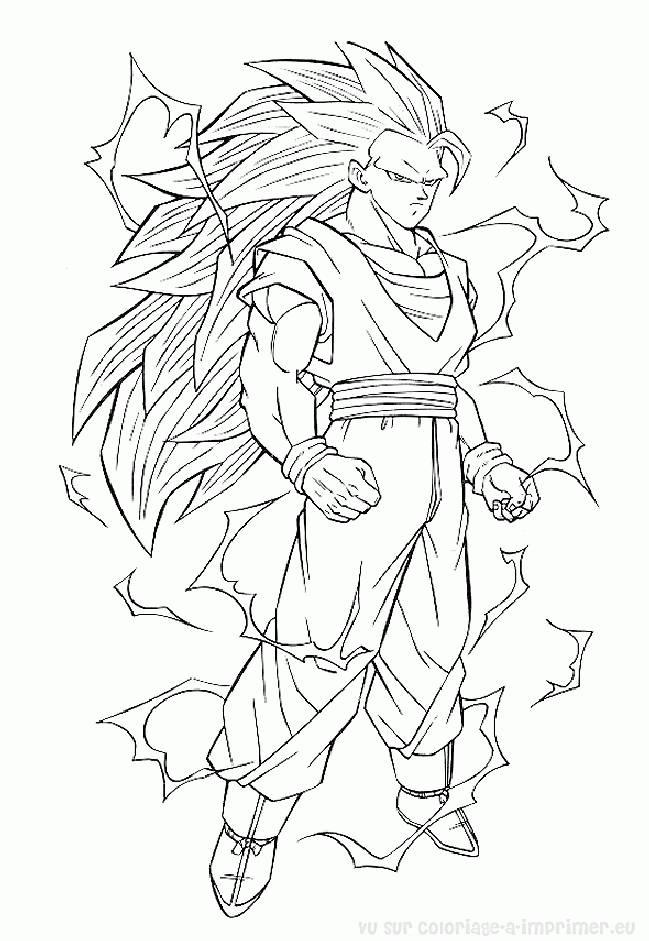 Coloriage Dragon Ball Z Puissant Songoku Dessin Gratuit A Imprimer