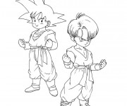 Coloriage et dessins gratuit Dragon Ball Z Son et Trunks à imprimer