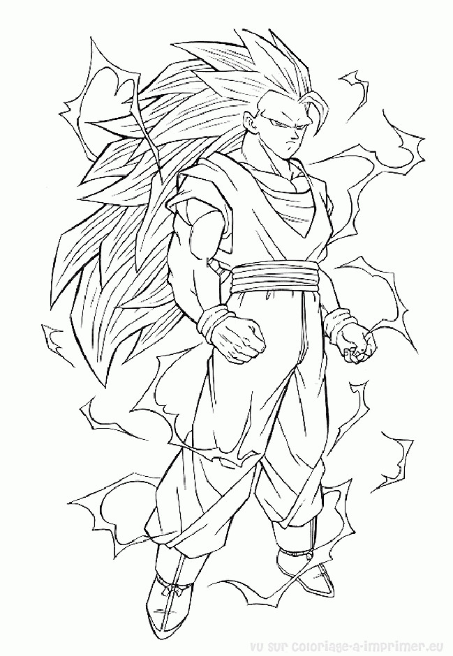 Coloriage dragon ball z songoku dessin gratuit imprimer - Coloriage gratuit dragon ball z ...