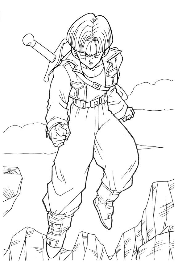 Coloriage dragon ball z trunks dessin gratuit imprimer - Dessin dragon ball z facile ...