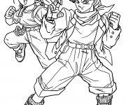Coloriage et dessins gratuit Dragon Ball Z Trunks et Bulma à imprimer