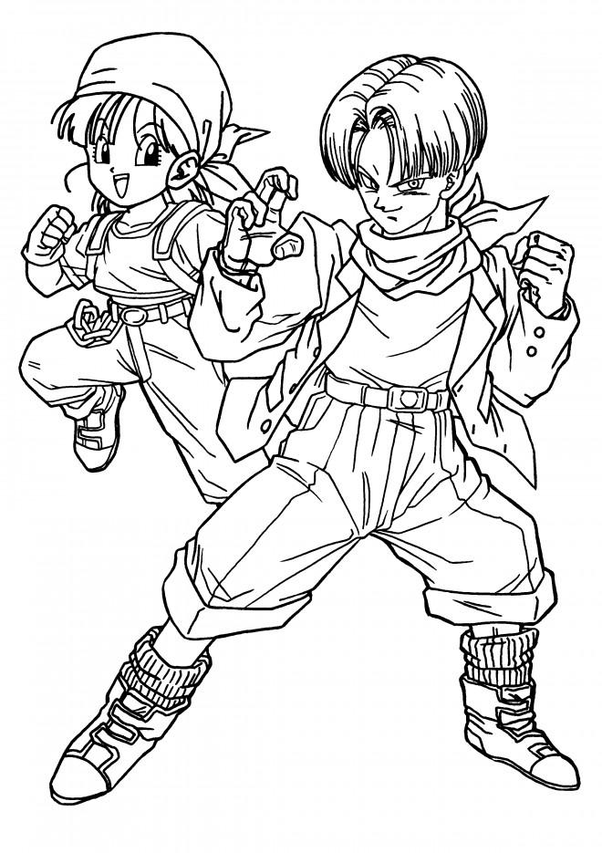 Coloriage Dragon Ball Z Trunks Et Bulma Dessin Gratuit à