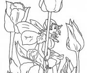 Coloriage Elfe Aira autour des Fleurs