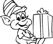 Coloriage et dessins gratuit Elfe et Cadeau à imprimer