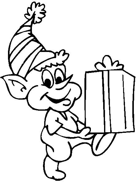 Coloriage et dessins gratuits Elfe et Cadeau à imprimer