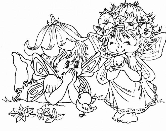 Coloriage elfe et f es dessin gratuit imprimer - Dessin feerique ...