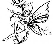 Coloriage et dessins gratuit Elfe et Fleur à imprimer