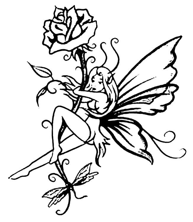 Coloriage et dessins gratuits Elfe et Fleur à imprimer