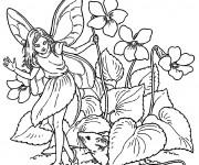 Coloriage et dessins gratuit Elfe Papillon entourée par des Fleurs à imprimer