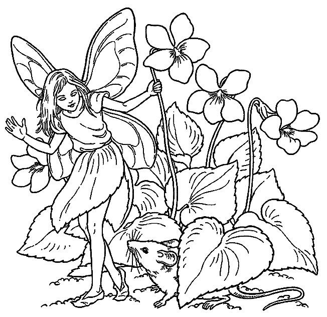 Coloriage et dessins gratuits Elfe Papillon entourée par des Fleurs à imprimer