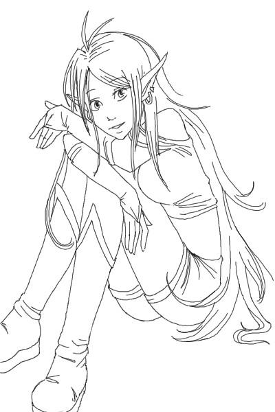Coloriage elfe tr s belle au crayon dessin gratuit imprimer - Manga coloriage elfe ...