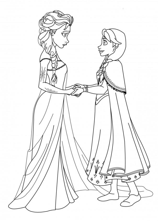 Coloriage Elsa Et Anna Film La Reine Des Neiges Dessin Gratuit à