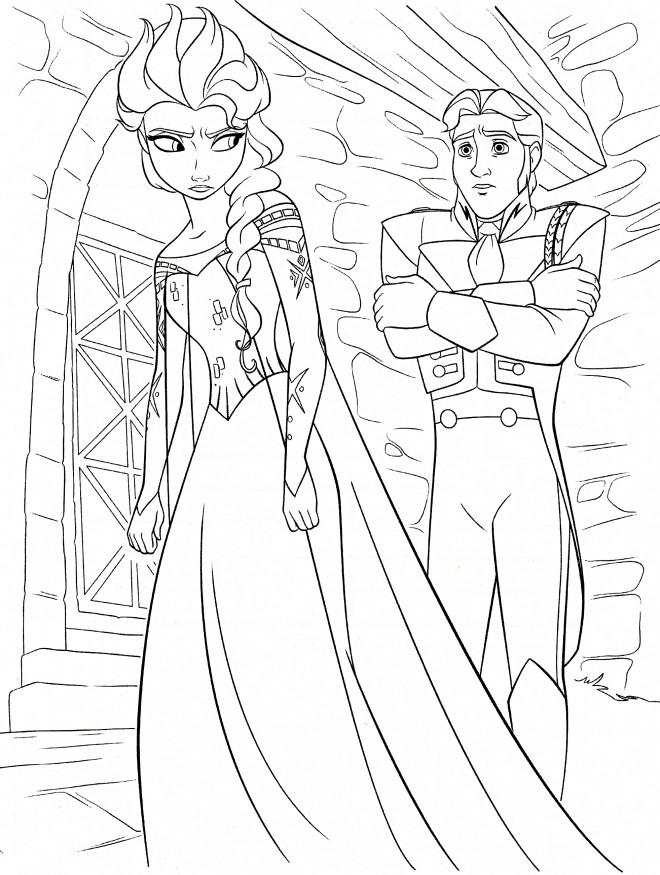 Coloriage et dessins gratuits Elsa chateau à imprimer