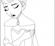 Coloriage Elsa entrain de chanter