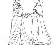 Coloriage dessin  Elsa et Anna