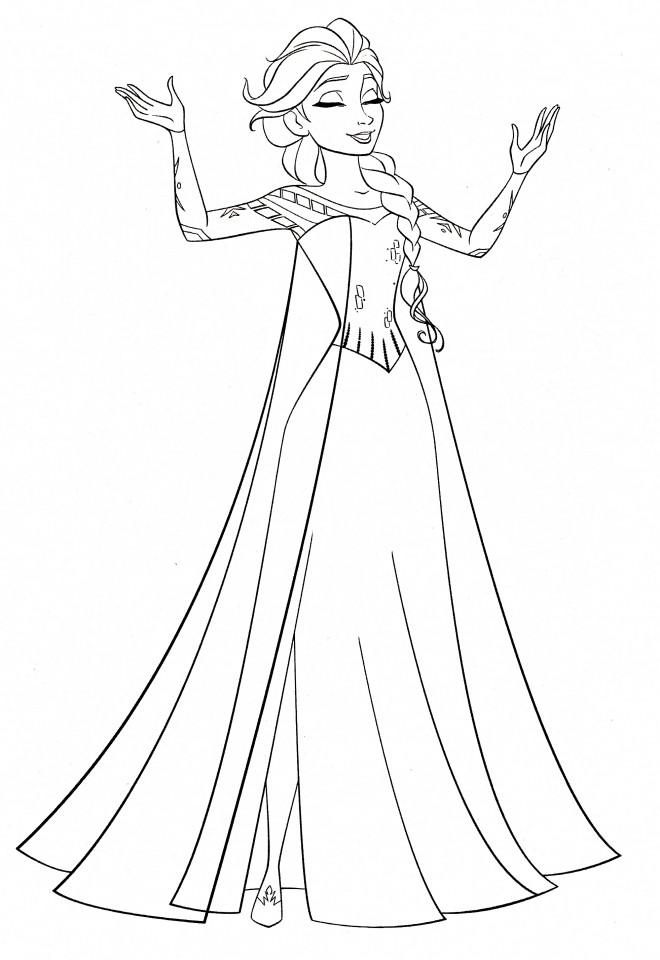 Coloriage et dessins gratuits Elsa sourit à imprimer