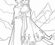 Coloriage et dessins gratuit la reine Elsa et Anna à imprimer