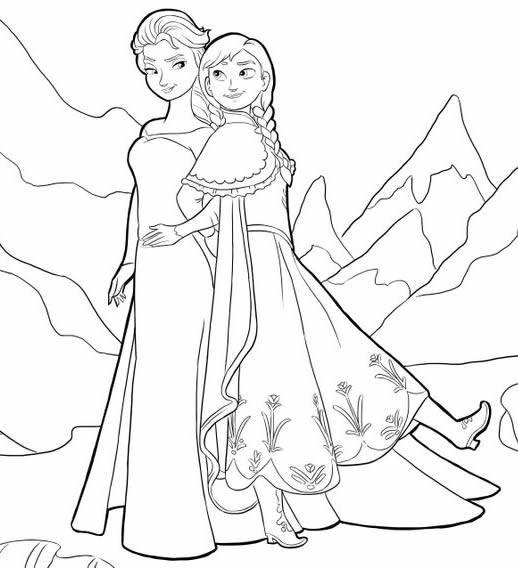 Coloriage et dessins gratuits la reine Elsa et Anna à imprimer