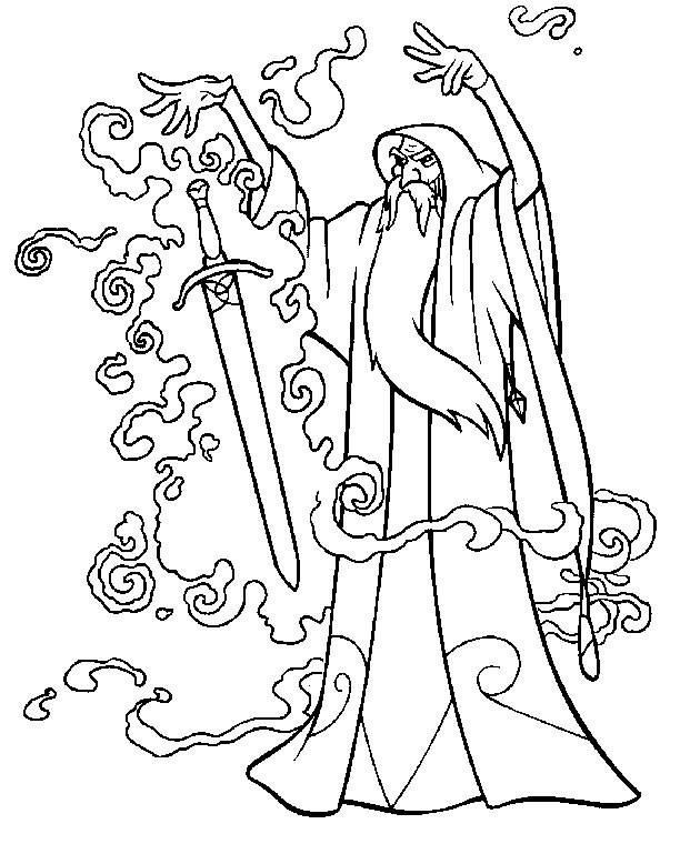 Coloriage et dessins gratuits Excalibur le magicien à imprimer