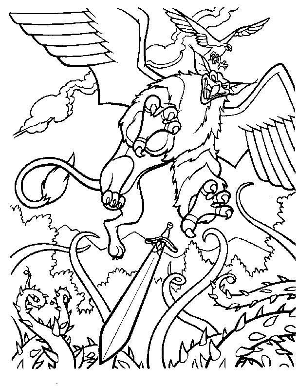 Coloriage et dessins gratuits Scène de Excalibur à imprimer