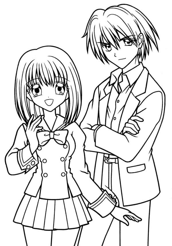Coloriage fille et gar on manga dessin gratuit imprimer - Dessin fille et garcon ...
