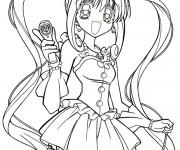 Coloriage dessin  Fille Manga 1