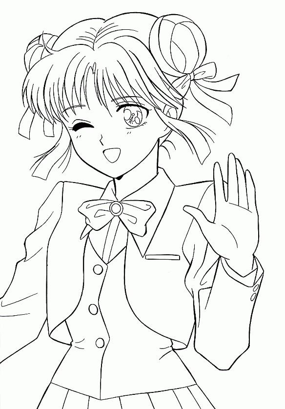 Coloriage Fille Manga 12 dessin gratuit à imprimer