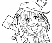 Coloriage Fille Manga 8