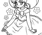 Coloriage et dessins gratuit Fille Manga à découper à imprimer
