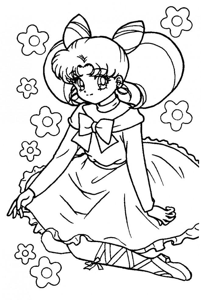 Coloriage et dessins gratuits Fille Manga à découper à imprimer
