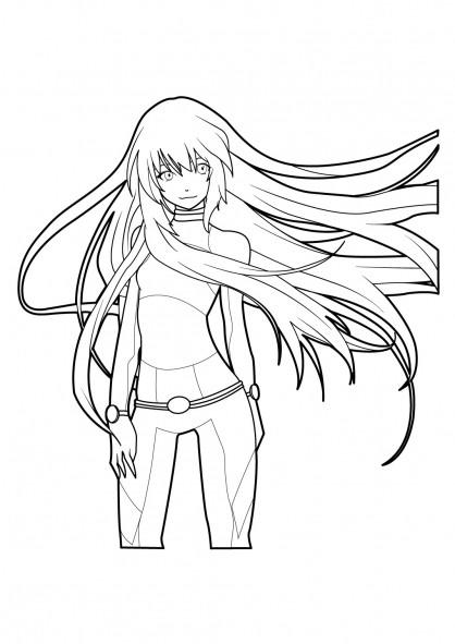 Coloriage et dessins gratuits Fille Manga à Longs Cheveux à imprimer