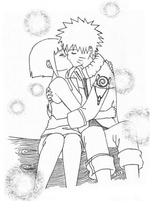 Coloriage et dessins gratuits Fille Manga amoureuse à imprimer