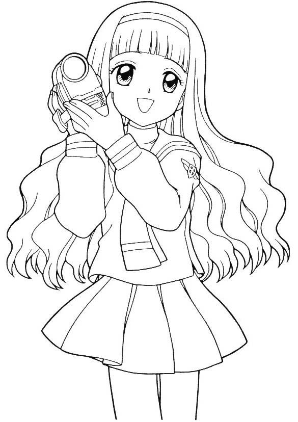 Coloriage et dessins gratuits Fille Manga avec La Caméra à imprimer