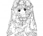 Coloriage Fille Manga En Noir Et Blanc Dessin Gratuit à Imprimer