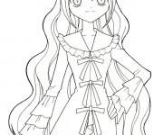 Coloriage et dessins gratuit Fille Manga en robe à imprimer