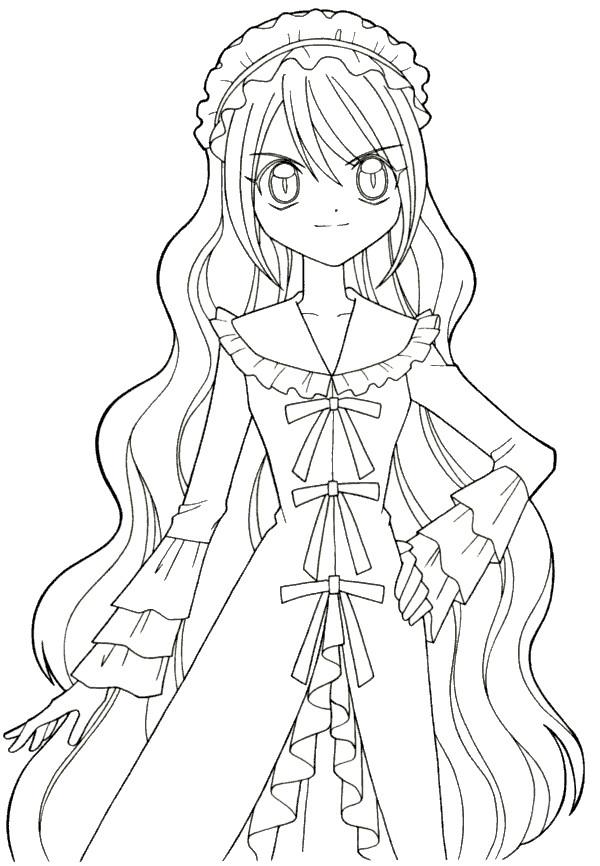 Coloriage et dessins gratuits Fille Manga en robe à imprimer