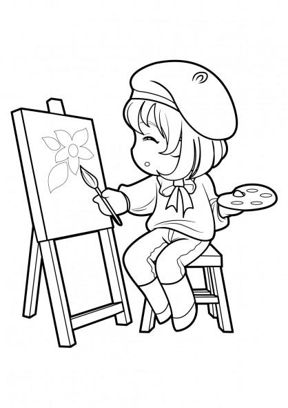 Coloriage et dessins gratuits Fille Manga en train de dessiner à imprimer