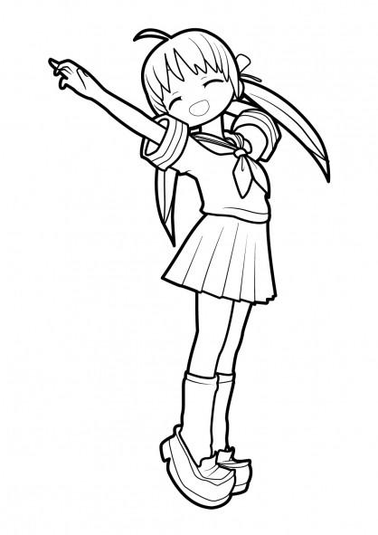 Coloriage et dessins gratuits Fille Manga en vecteur à imprimer