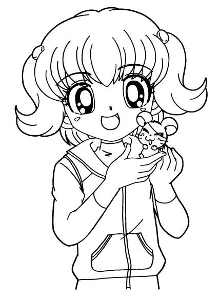 Coloriage et dessins gratuits Fille Manga  heureuse à imprimer