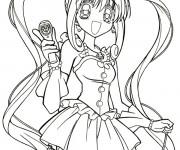 Coloriage et dessins gratuit Fille Manga Kawaii à imprimer