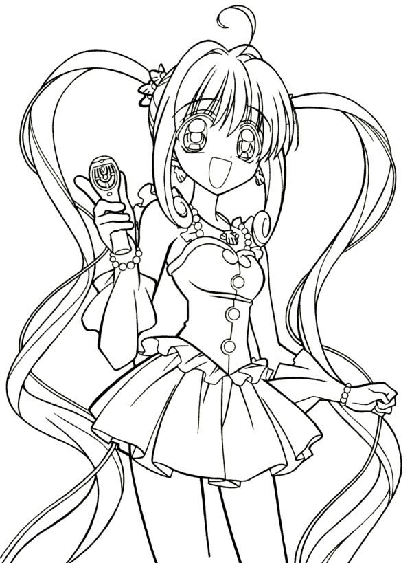 Coloriage et dessins gratuits Fille Manga Kawaii à imprimer
