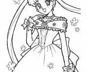 Coloriage et dessins gratuit Fille Manga magique à imprimer