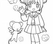 Coloriage et dessins gratuit Fille Manga mignonne à imprimer