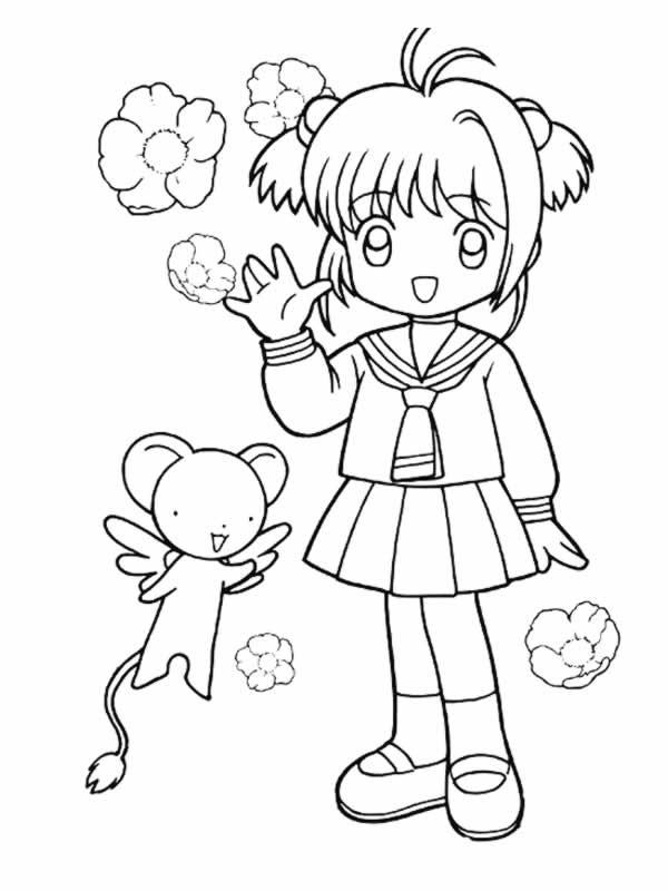 Coloriage et dessins gratuits Fille Manga mignonne à imprimer