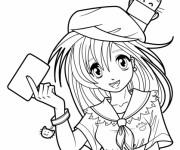 Coloriage et dessins gratuit Fille Manga pour enfant à imprimer