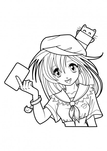 Coloriage fille manga pour enfant dessin gratuit imprimer - Coloriage manga livre ...