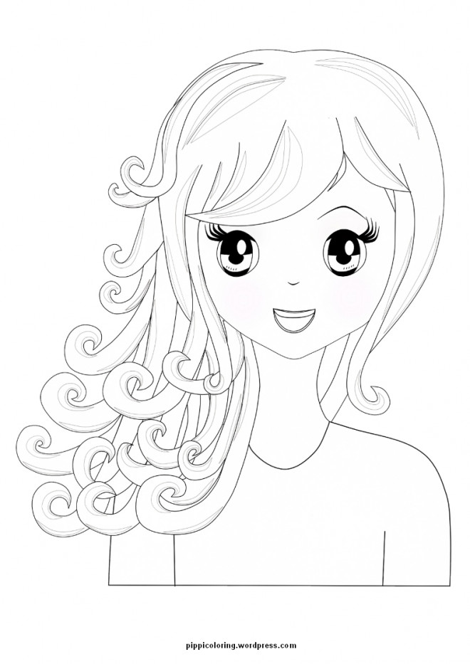 Coloriage et dessins gratuits Fille Manga simple à imprimer